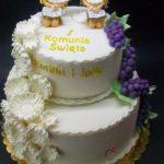 komunijny tort dla bliżniąt