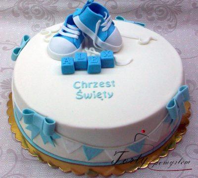 tort na chrzest z trampkami dla Alexa