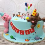 tort z dwoma misiami na  urodziny dla rodzeństwa