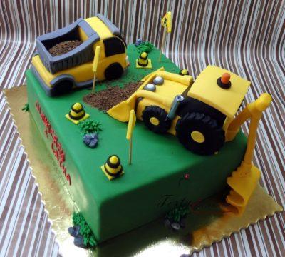 tort z koparką i wywrotką na budowie