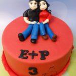tort z parą zakochanych